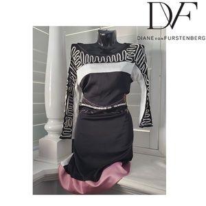 DVF Black Silk Zig Zag Stitched Color Block Dress